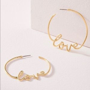 Stella and Dot Gold Love Hoops